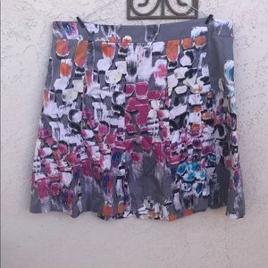 Lane Bryant Gray Pink and Orange Abstract Skirt